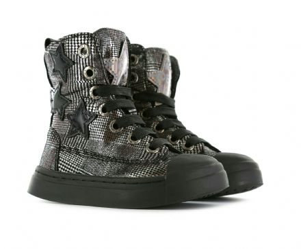 ShoesMe BIKER Leather High Top Boots (Silver)